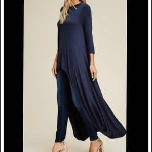Tops - Blue hi-low tunic